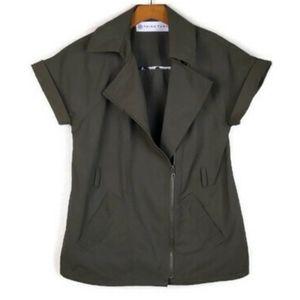 Trina Turk Green Moto Zip Safari Short sleeve Vest